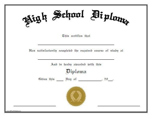 High School Diploma Template 25 High School Diploma Templates Free Download