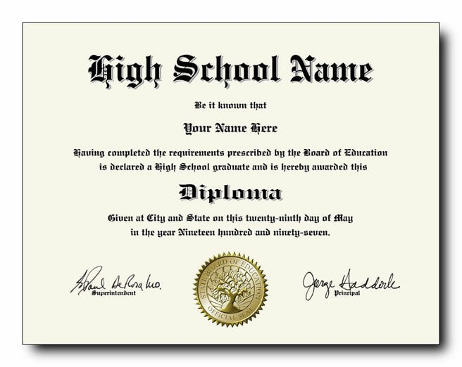 High School Diploma Template Fake High School Diplomas and Transcripts as Low as $49 Each