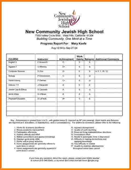 High School Report Card Template 4 High School Report Card Template
