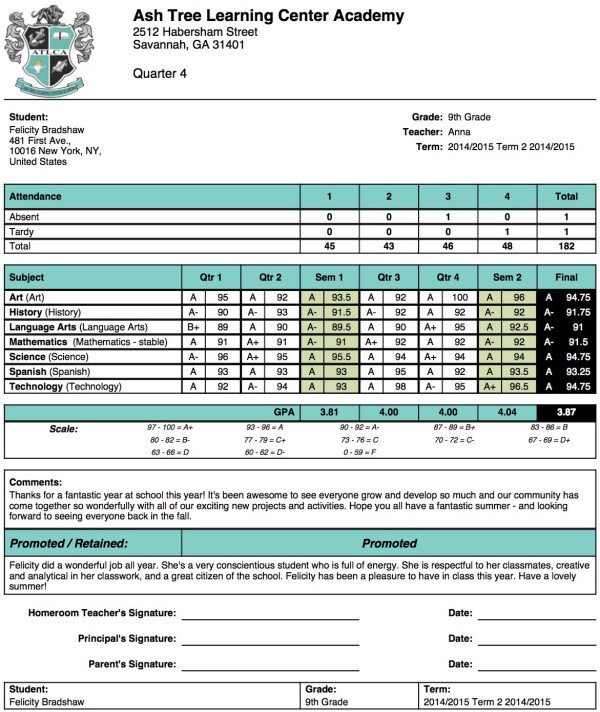High School Report Card Template ash Tree Learning Center Academy Report Card Template