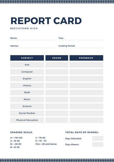 High School Report Card Template Customize 700 High School Report Card Templates Online