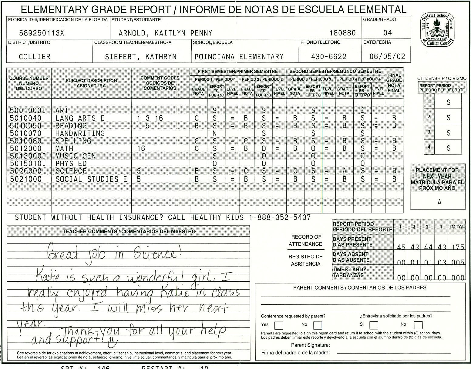 High School Report Card Template Elementary School Report Card Template