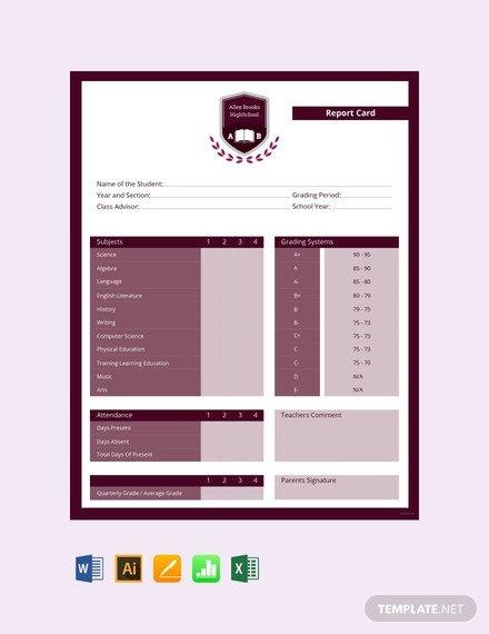 High School Report Card Template Free High School Report Card Template Download 154