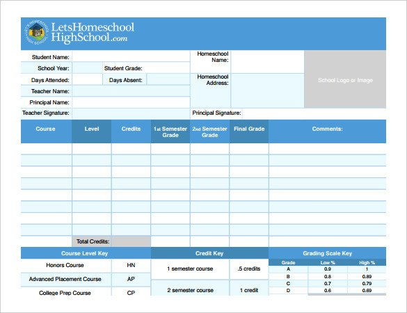 High School Report Card Template Report Card Template – 21 Free Excel Pdf Documents