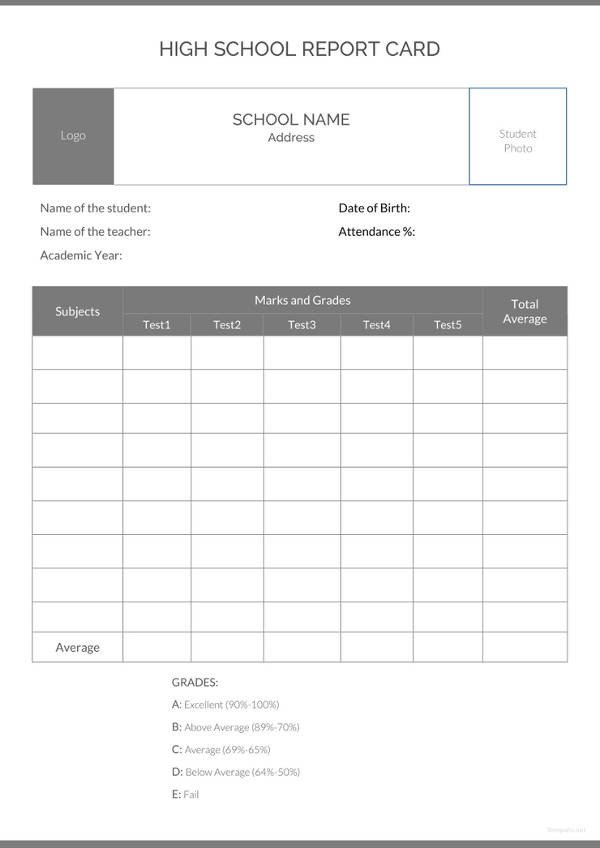 High School Report Card Template School Report Template 24 Free Sample Example format
