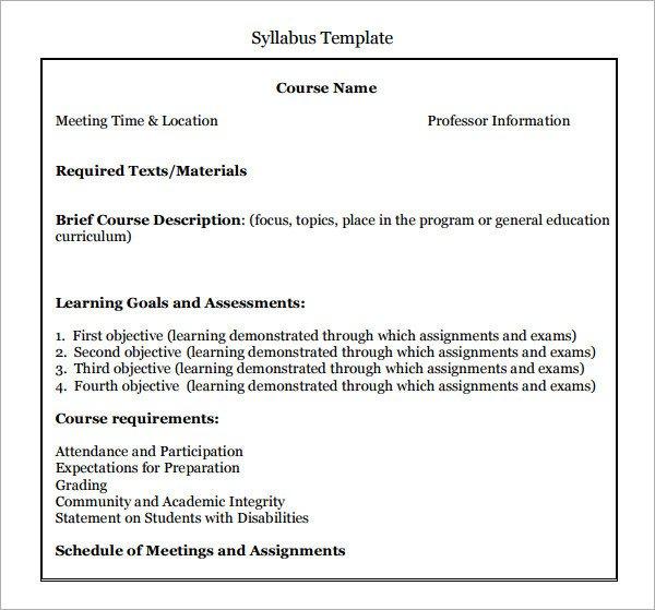 High School Syllabus Template 6 Syllabus Templates Pdf Doc