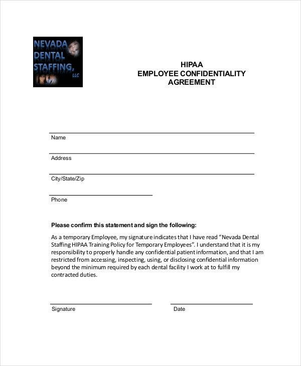 Hipaa Compliance forms for Employees Employee Confidentiality Agreement – 10 Free Word Pdf