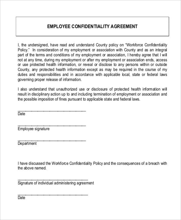 Hipaa Compliance forms for Employees Employee Confidentiality Agreement