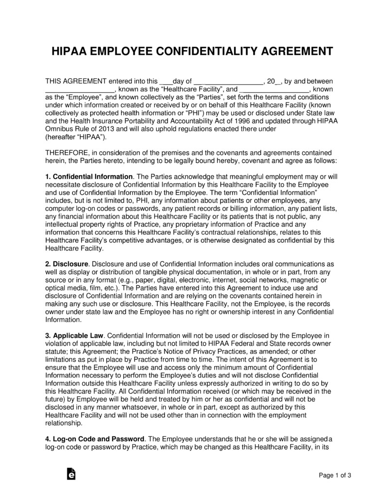 Hipaa Compliance forms for Employees Free Hipaa Employee Confidentiality Agreement Pdf