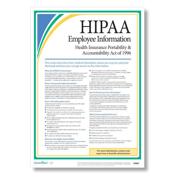 Hipaa Compliance forms for Employees Hipaa Employee Information Poster