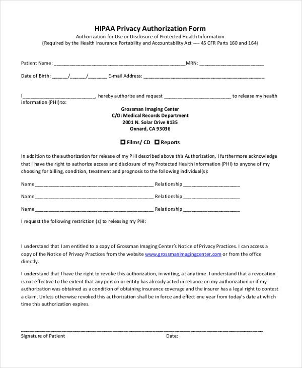 Hipaa Compliance forms for Employers Sample Hipaa Authorization form 9 Free Documents In Doc