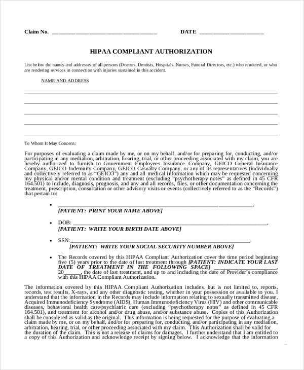 Hipaa Compliance forms for Employers Sample Medical Authorization form 10 Free Documents In Pdf