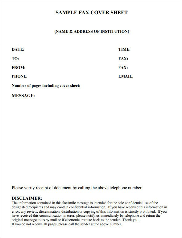Hipaa Fax Cover Sheet Fax Cover Sheet Template 6 Free Download In Word Pdf