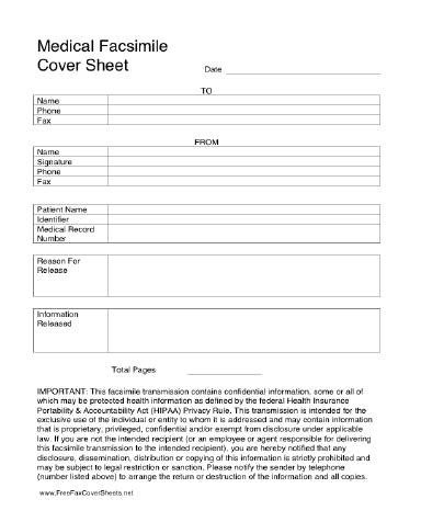 Hipaa Fax Cover Sheet Medical Hipaa Fax Cover Sheet at Freefaxcoversheets