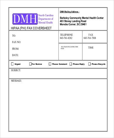 Hipaa Fax Cover Sheet Sample Cover Sheet for Fax 9 Examples In Word Pdf