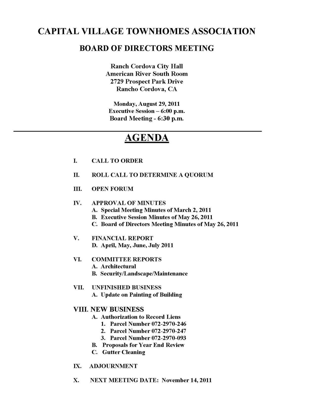 Hoa Meeting Minutes Template Capital Village townhome Hoa Board Meeting Monday August