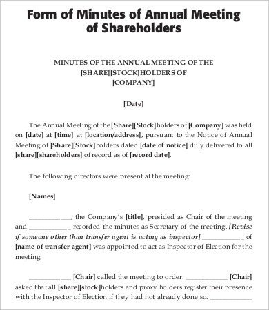 Hoa Meeting Minutes Template Hoa Annual Meeting Minutes Template Annual Shareholders