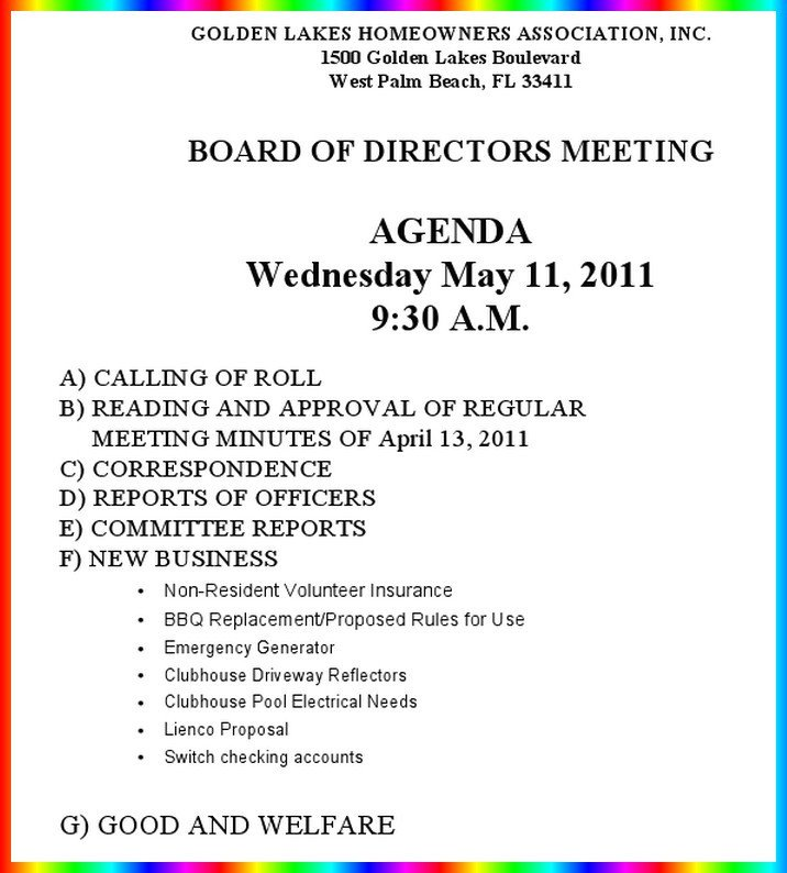 Hoa Meeting Minutes Template Notice Of Hoa Board Meeting – Wednesday – May 11 – 9 30 Am