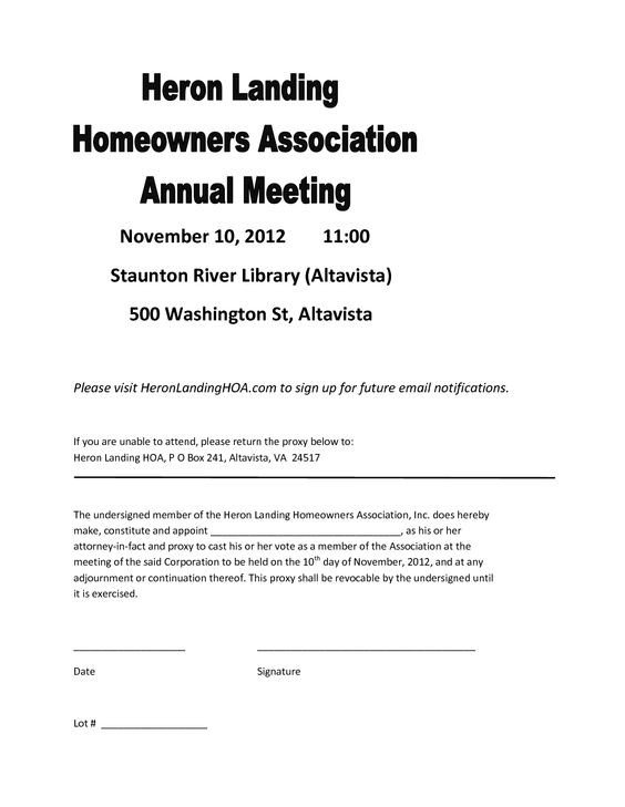 Hoa Proxy Vote form Template 26 Of Homeowners association Proxy form Template