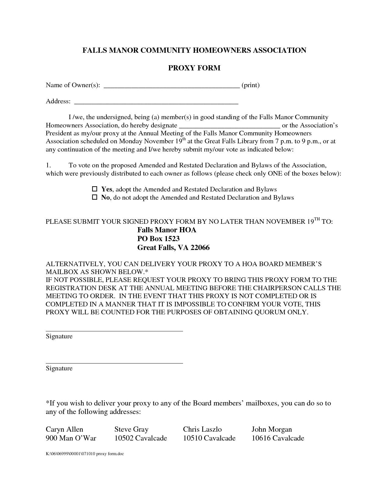 Hoa Proxy Vote form Template Dodoisthere — Proxy Vote In Australia Hoa Proxy form