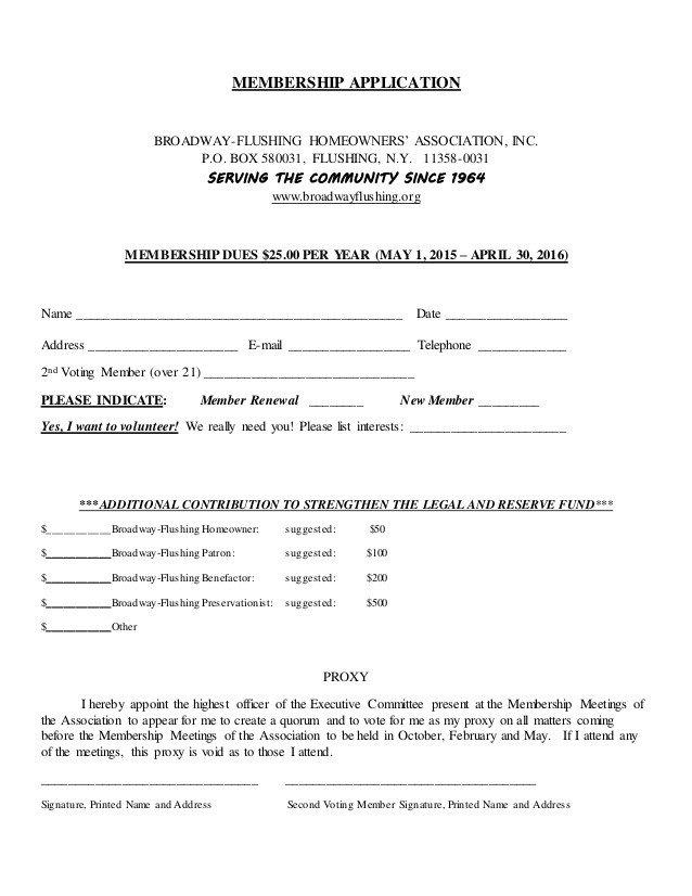Hoa Proxy Vote form Template Membership Application
