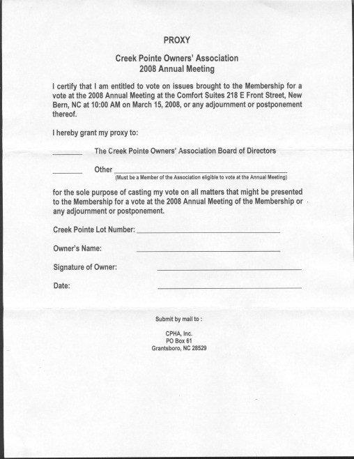 Hoa Proxy Vote form Template Photoaltan9 Proxy Vote