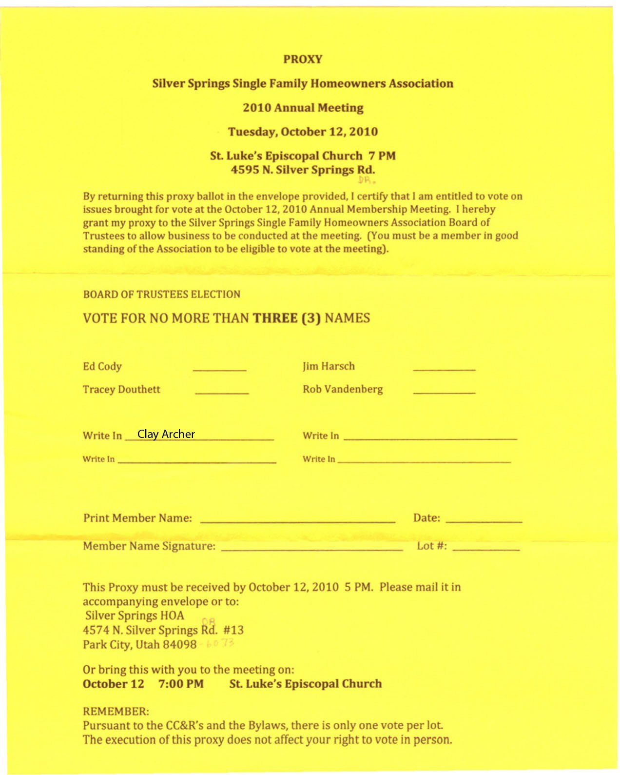 Hoa Proxy Vote form Template Silver Springs Munity2010 Oct 12 – Sssf Hoa Annual Meeting