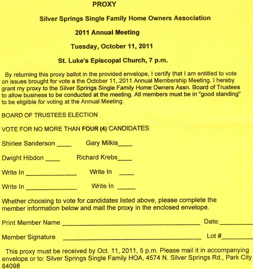 Hoa Proxy Vote form Template Silver Springs Munity2011 Oct 11 Sssf Annual Mtg