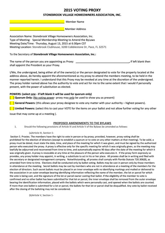 Hoa Proxy Vote form Template top 5 Hoa Proxy form Templates Free to In Pdf format