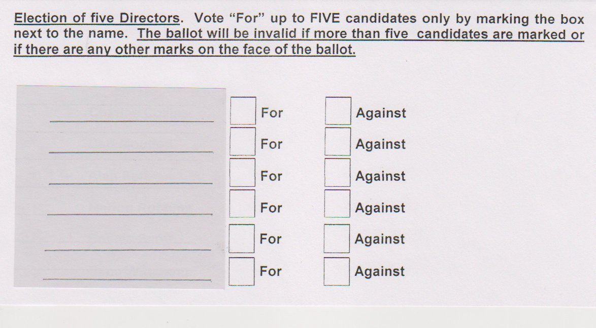 Hoa Proxy Vote form Template Voting for the Board