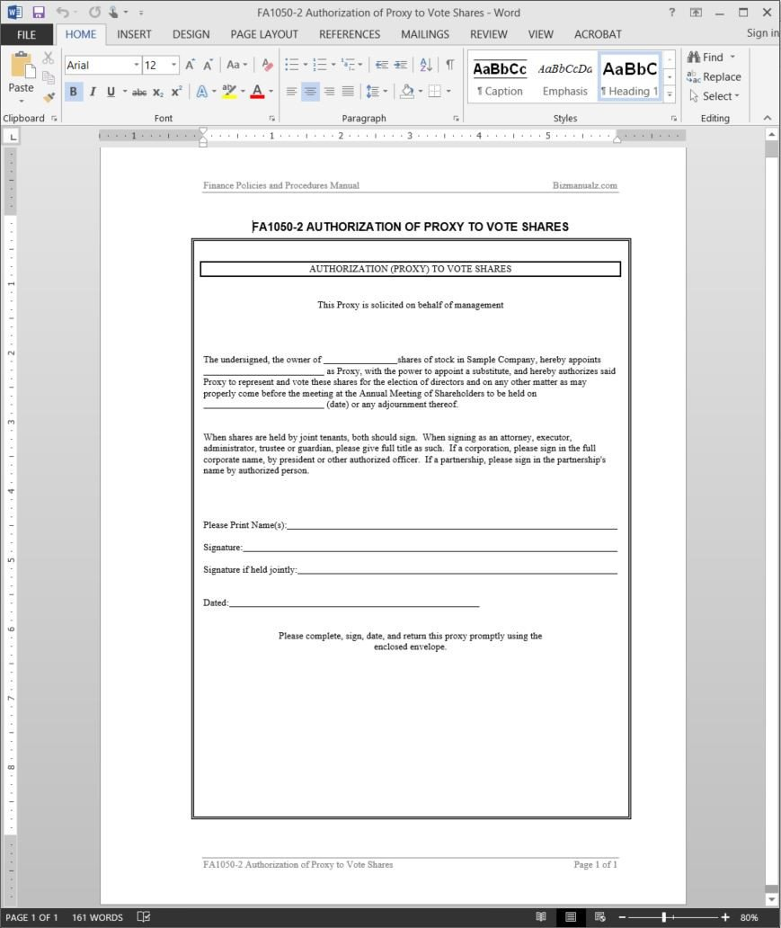 Hoa Proxy Vote form Template Voting Proxy Template