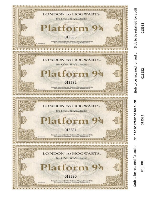 Hogwarts Express Ticket Template Bookmark E Way Travel Ticket On Hogwarts Express