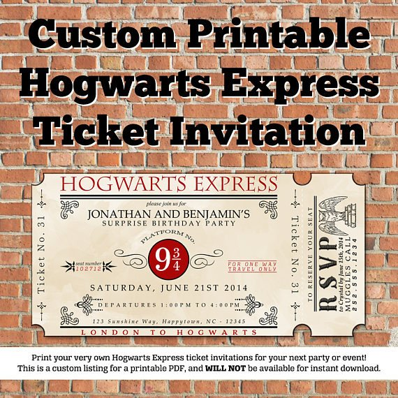 Hogwarts Express Ticket Template Custom Printable Hogwarts Express Ticket Invitation