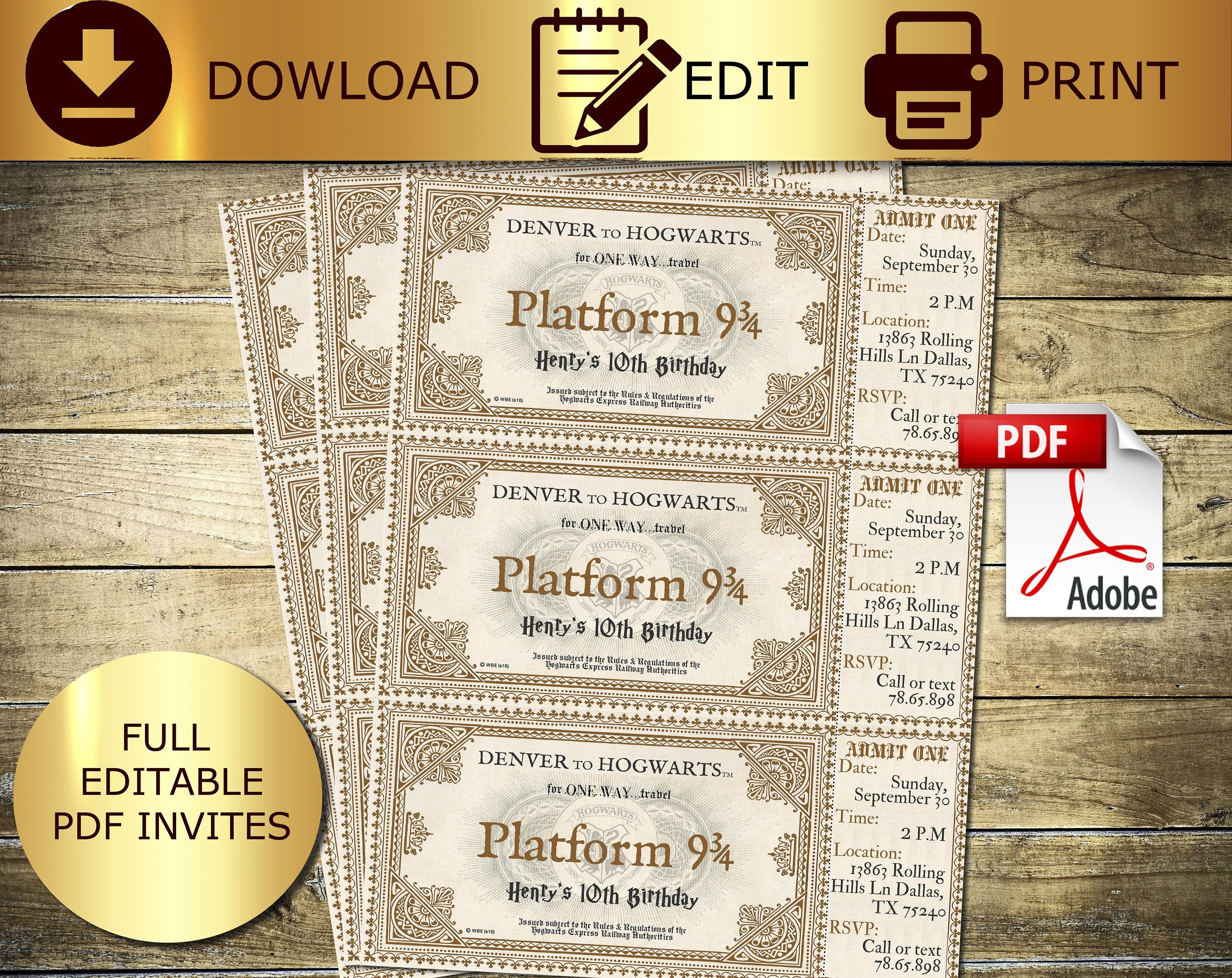 Hogwarts Express Ticket Template Editable Harry Potter Potter Ticket Hogwarts Ticket