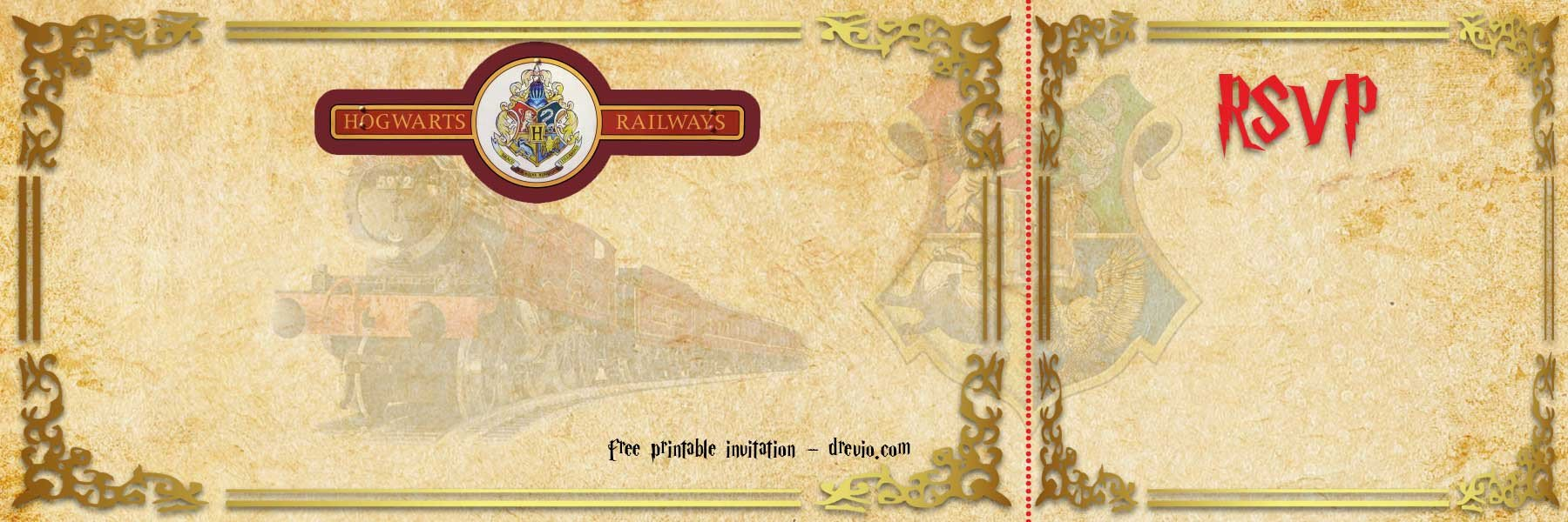 Hogwarts Express Ticket Template Free Printable Hogwarts Express Ticket Invitation Template