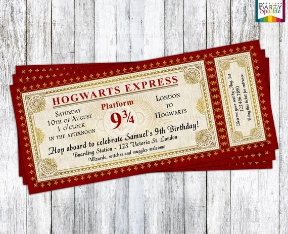 Hogwarts Express Ticket Template Hogwarts Express Ticket Invitation Harry Potter Birthday