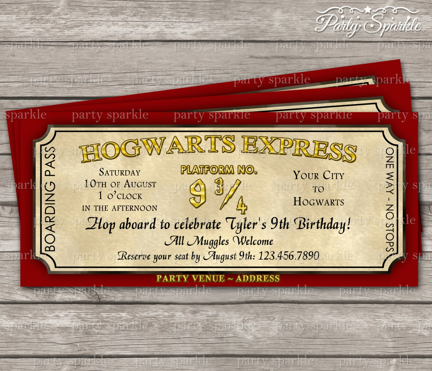 Hogwarts Express Ticket Template Hogwarts Express Ticket Invitation Harry Potter by