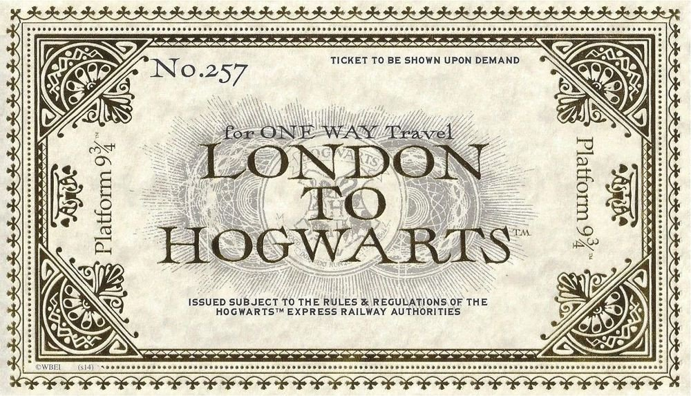 Hogwarts Express Ticket Template Hogwarts Express Train Ticket Wizarding World Of Harry