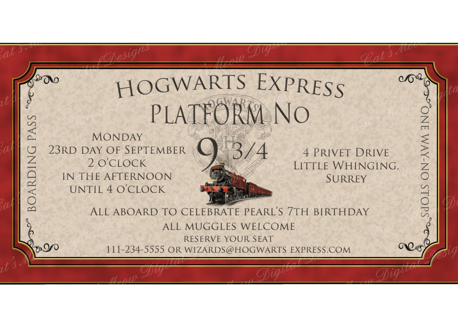 Hogwarts Express Ticket Template Hogwarts Harry Potter Birthday Invitation Printable