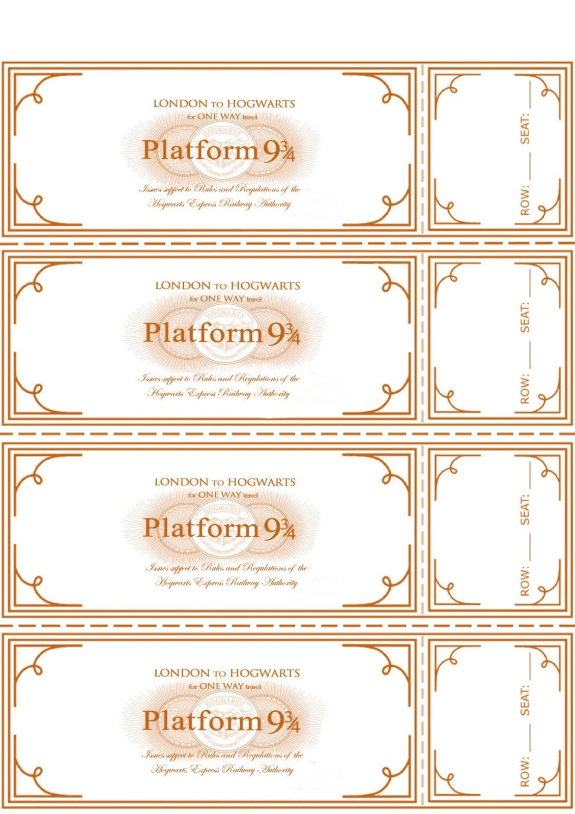 Hogwarts Express Ticket Template I Do A Dime Harry Potter Party