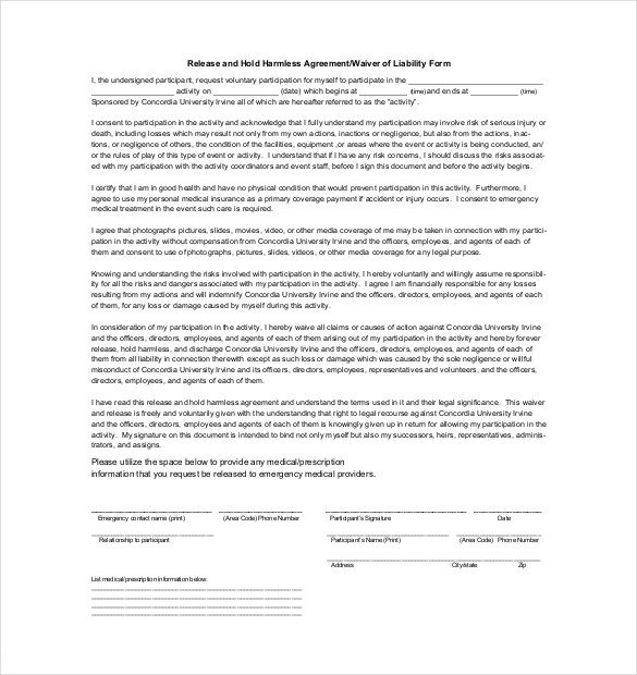 Hold Harmless Agreement Template Hold Harmless Agreement Template – 14 Free Word Pdf