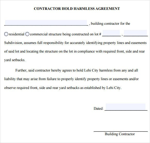 Hold Harmless Agreement Template Sample Hold Harmless Agreement 10 Documents In Pdf Word