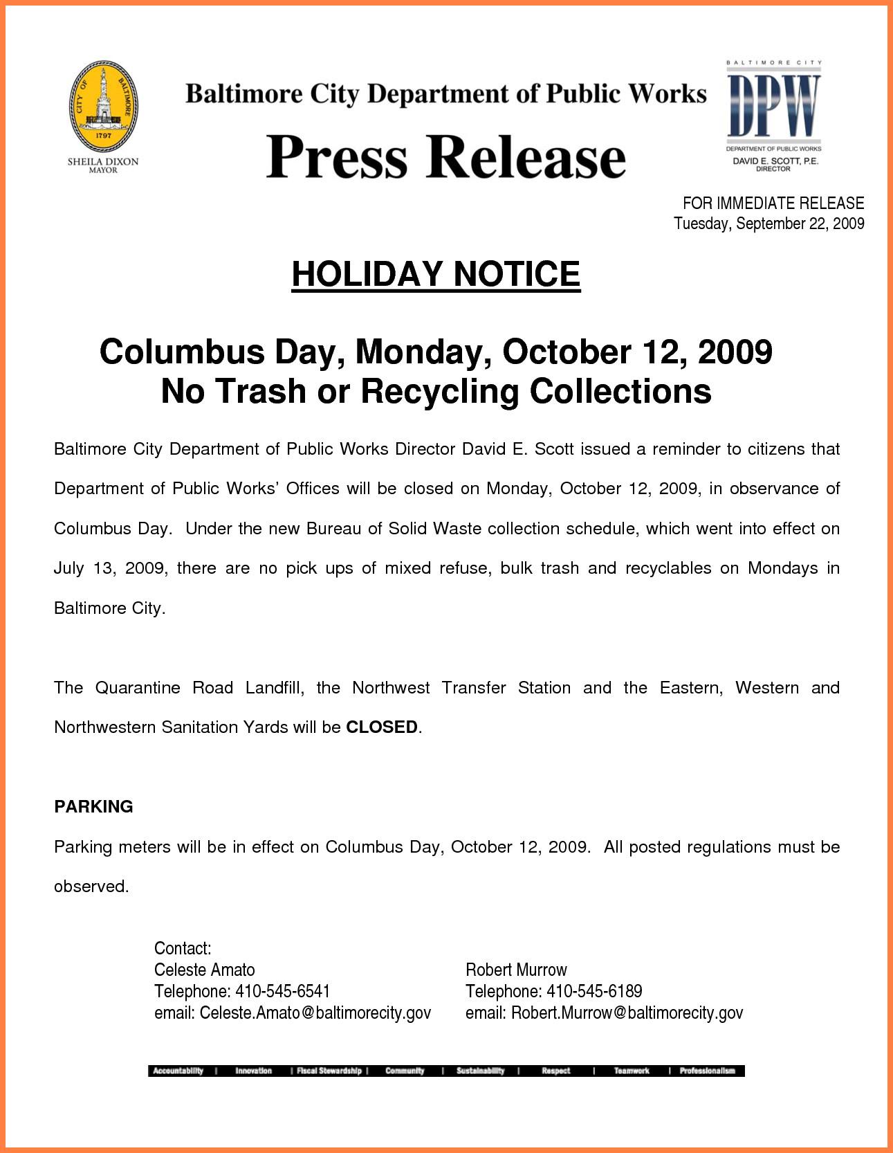 Holiday Closing Notice Template 8 Closure Notice Sample