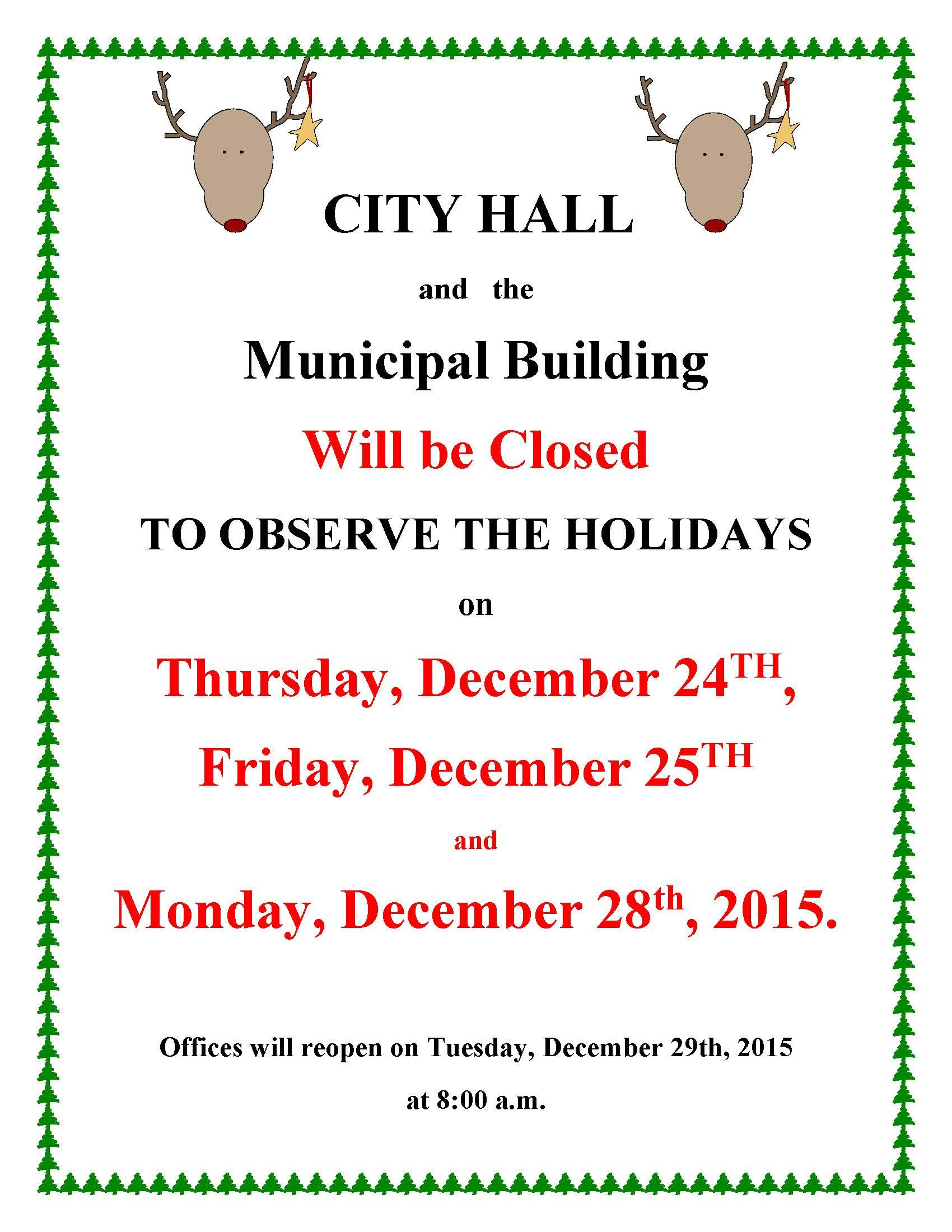 Holiday Closing Notice Template City Fices Closed for Holidays