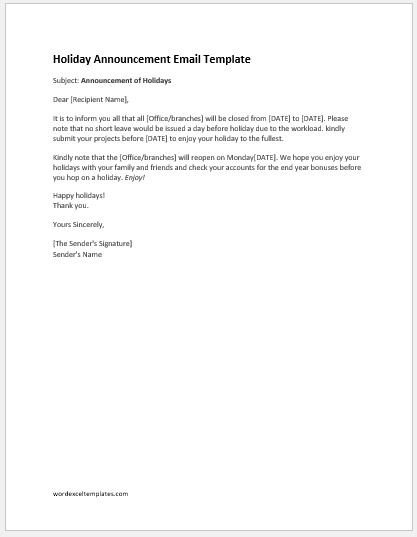 Holiday Closing Notice Template Fice Closed for Holidays Email Template