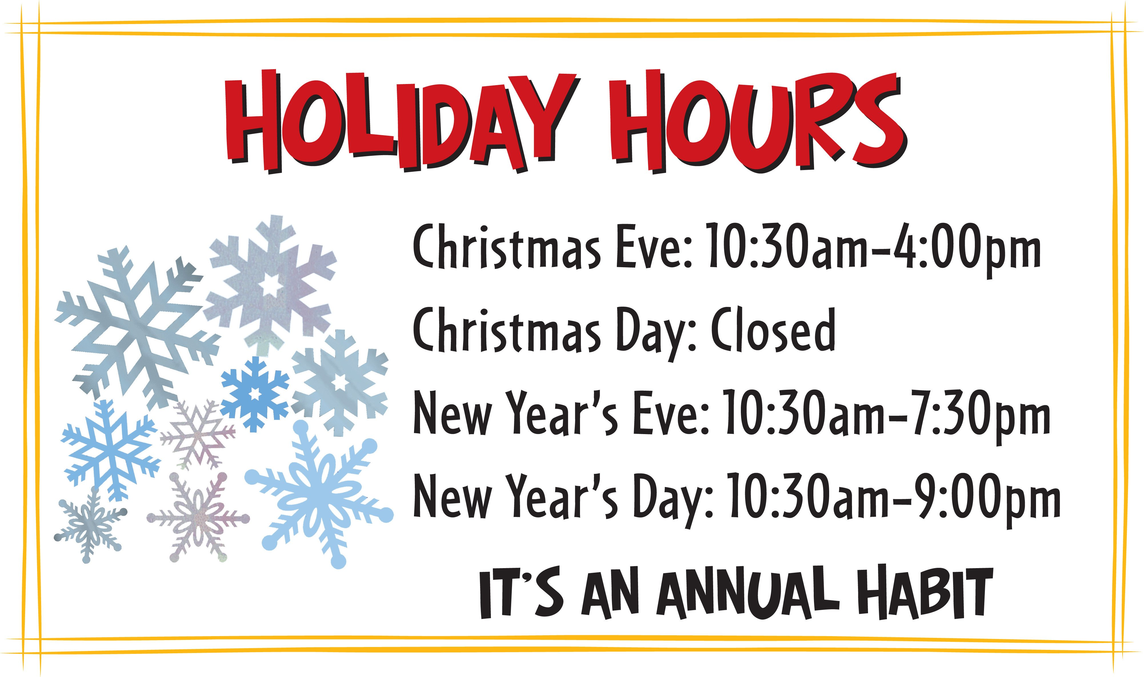 Holiday Closing Notice Template Habit Holiday Hours
