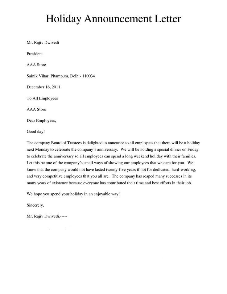 Holiday Closing Notice Template Holiday Announcement Letter Giving A Letter to Inform