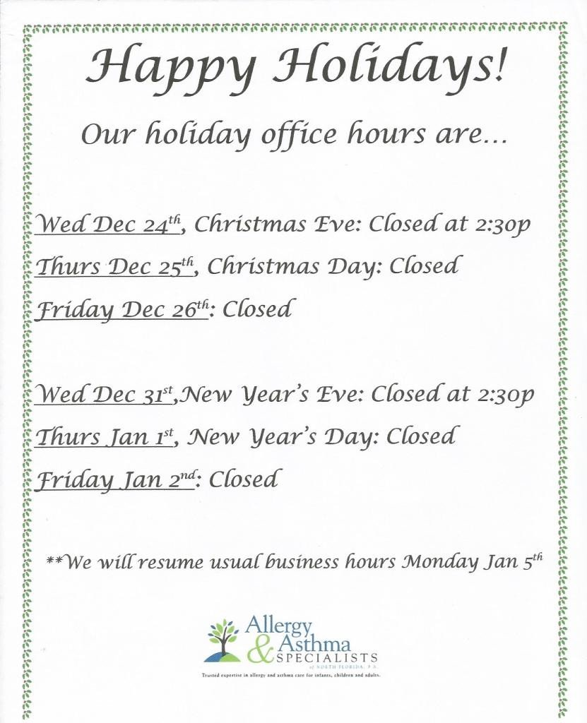 Holiday Closing Notice Template Holiday Fice Hours Allergists In Jacksonville Fl