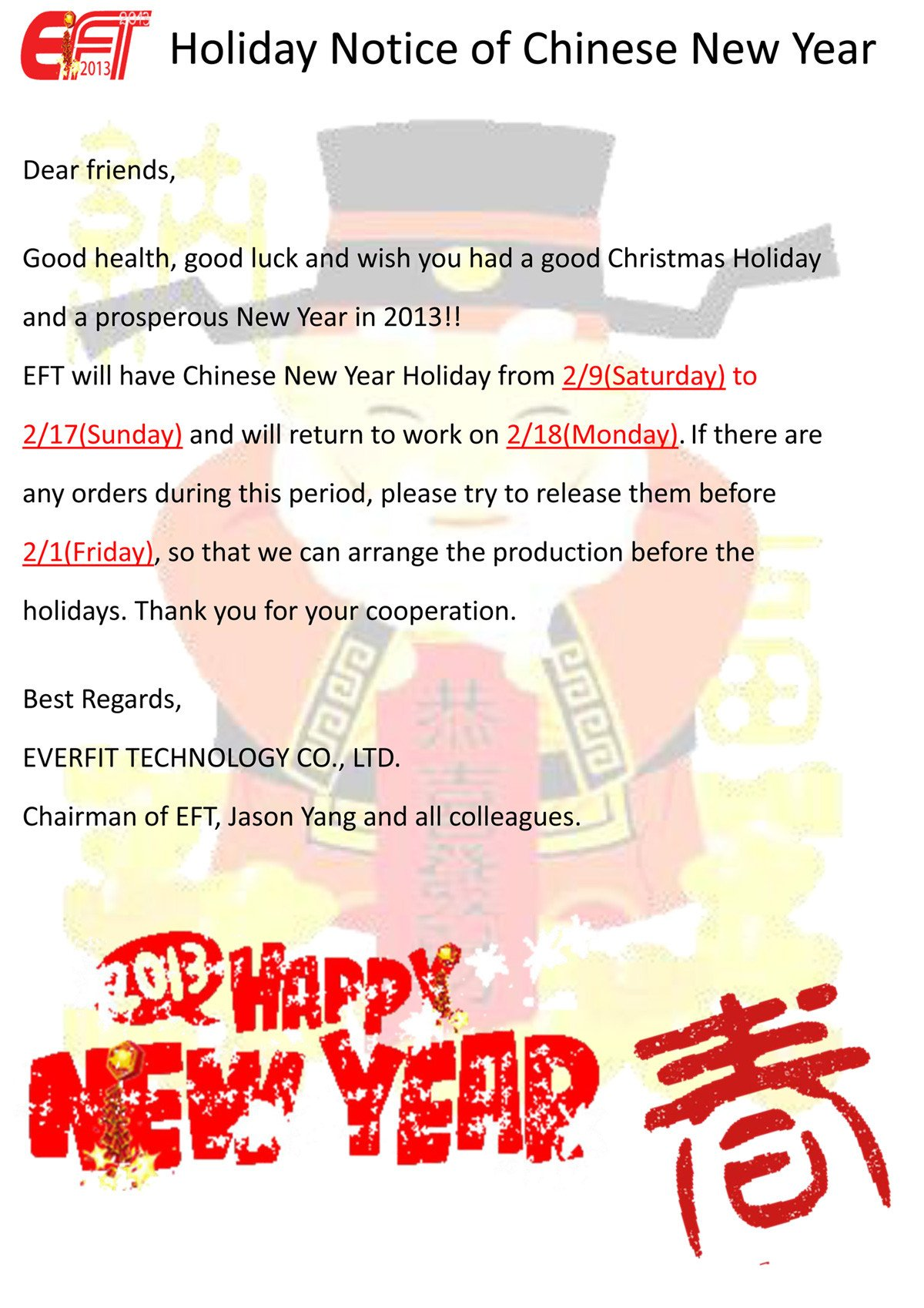 Holiday Closing Notice Template Holiday Notice Of Chinese New Year