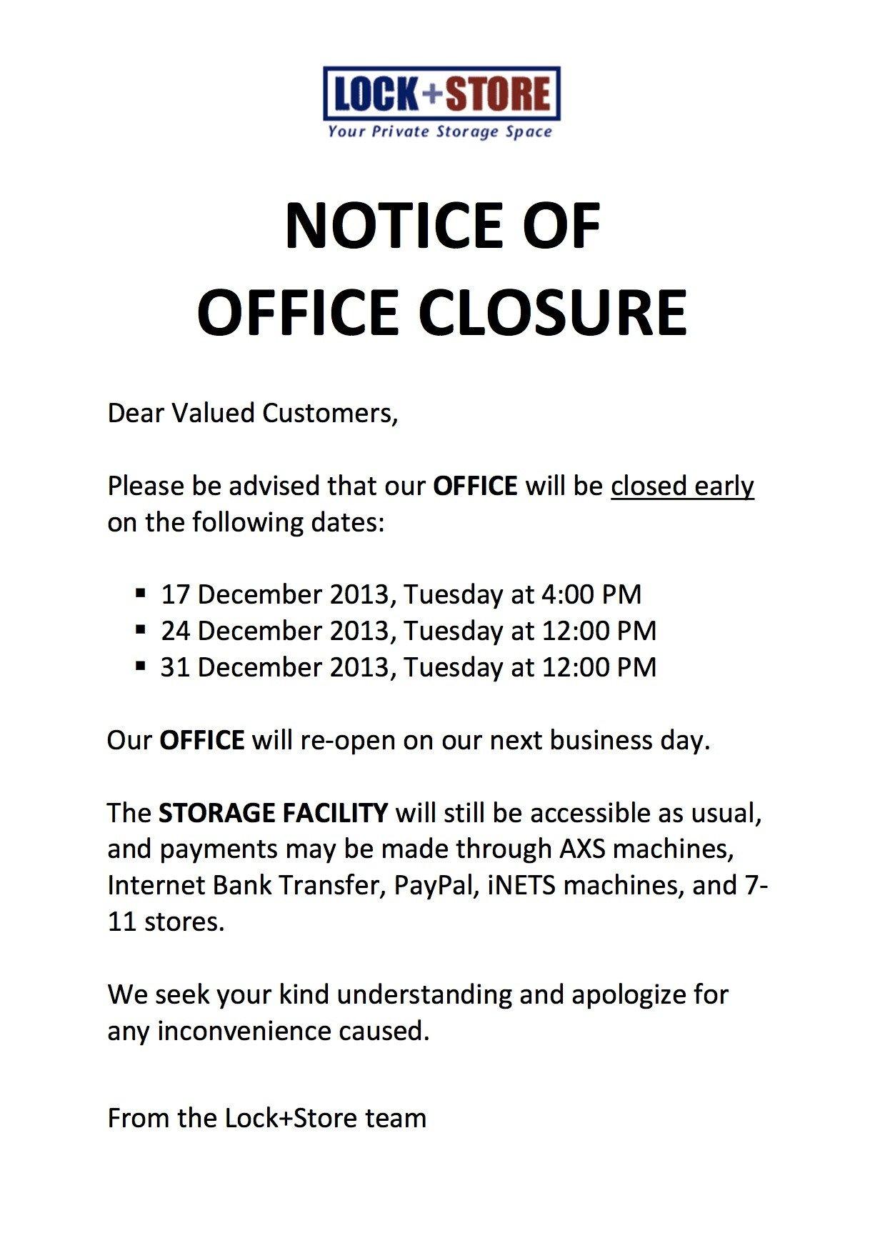 Holiday Closing Notice Template Lockandstore Lock Store